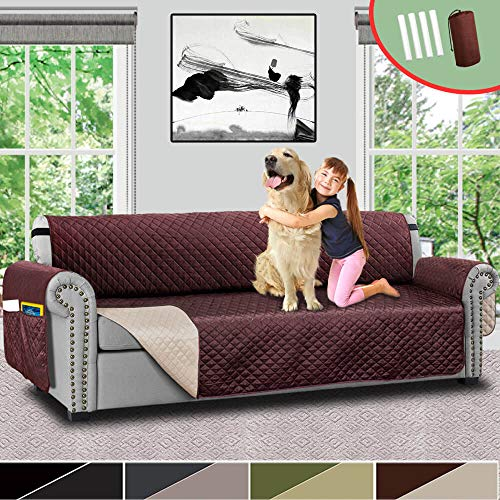 "Vailge Oversize Reversible Sofa Cover, Extra Large Sofa Slipcover With 2"" Strap/Pocket, Extra Width Up to 78"", Furniture Protector Machine Washable, Couch Covers for Dog(Oversize Sofa:Chocolate/Beige)"