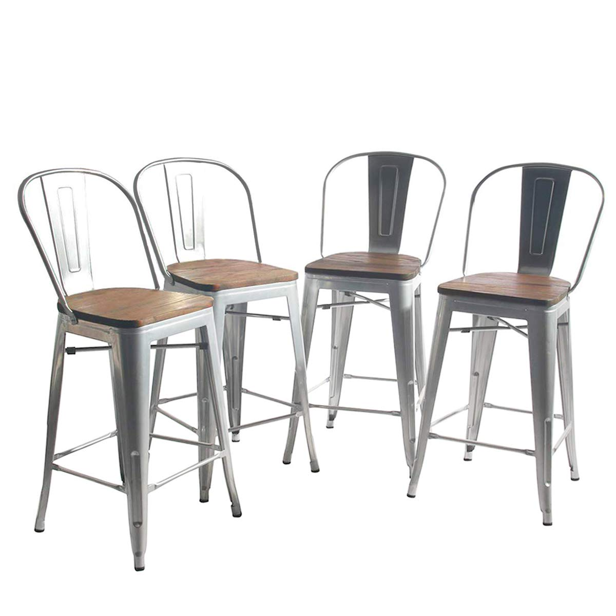YongQiang Metal Barstools Set of 4 Indoor Outdoor Bar Stools High Back Dining Chair Counter Stool Cafe Side Chairs with Wooden Seat 26'' Silver by YongQiang