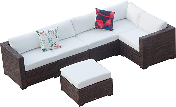 Red-2 Incl Waterproof Cover/&Clips Auro Outdoor Furniture 5-Piece Sectional Sofa Set All-Weather Wicker with Water Resistant Olefin Cushions for Patio Backyard Pool