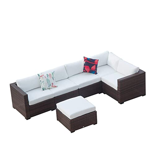 Auro Outdoor Furniture 6-Piece Sectional Sofa Set All-Weather Brown Wicker with Water Resistant Olefin Cushions for Patio Backyard Porch Pool Incl. Waterproof Cover Clips White