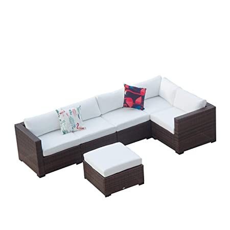 Auro Outdoor Furniture 6-Piece Sectional Sofa Set All-Weather Brown Wicker with Water Resistant Olefin Cushions for Patio Backyard Pool Incl. Waterproof Cover Clips White