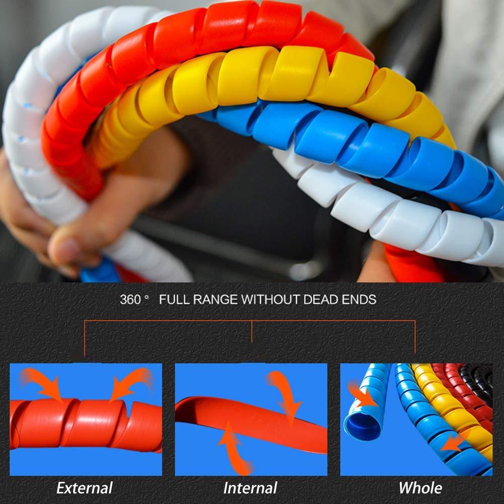 2M C/âble Tidy Wrap Spiral Utile et Durable c/âble denroulement en spirale de 8mm Protecteurs de fil Organisateur Couvre-fil Tube Bureau Usage domestique Rouge