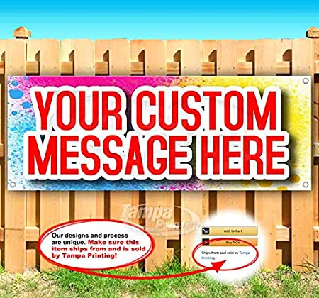 Custom Design 13 oz Heavy Duty Vinyl Banner Sign with Metal Grommets New Flag, Many Sizes Available Store Advertising