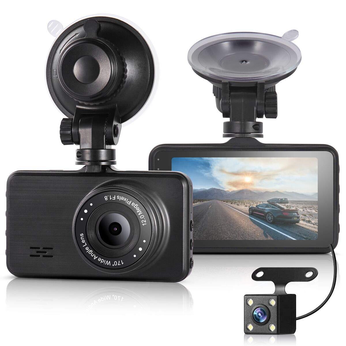 ULU Car Dash Cam FHD 1080P Front & 720P Rear Dual Camera 170° +120° Digital Dashboard Camera Car DVR with 3 inch IPS Screen Night Vision G-Sensor Parking Monitor WDR Loop Recording