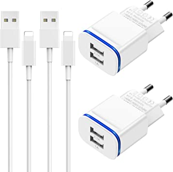 Niluoya Cargador Phone, 4-Pack 2.1A/5V 2M Cable y Dos Enchufe USB ...