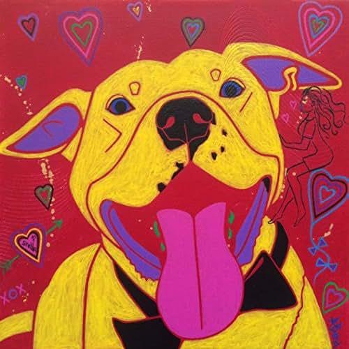 Womanizer Pitbull Dog Art Print - MATTED Dog Pop Art by Angela Bond