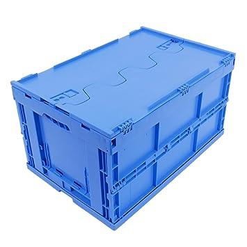 grossiste cbdd5 ae54a BAC PLIABLE AVEC COUVERCLE 61 LITRES BLEU, bac gerbable pliant, caisses  plastiques pliantes, qualité industrielle, 60x40x33cm, jusqu'à 60 kg