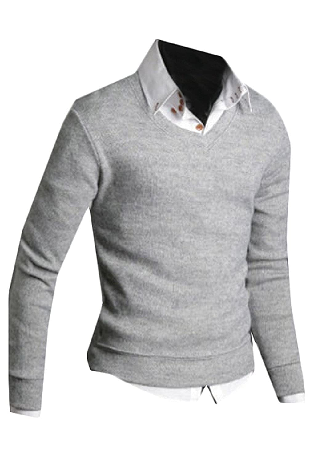 CFD Men's Casual V-Neck Pullover Sweater Autumn