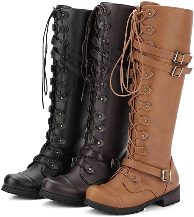 Kinrui Women Shoes Womens Winter Knee High Boots Lace Up Strappy Thick Platform Motorcycle Square Heel Riding Booties
