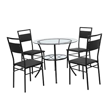 @home by Nilkamal Kane Four Seater Dining Table Set (Black)
