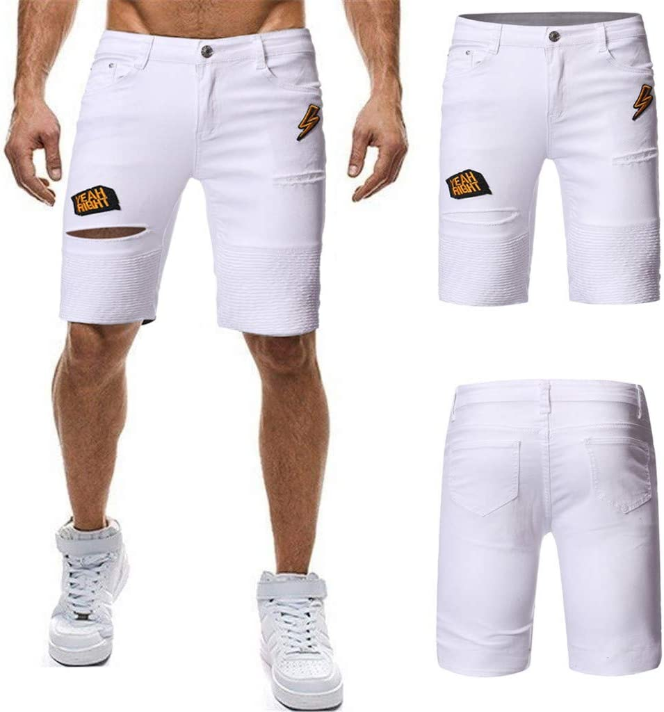 Men S Summer Fashion Pleated Short Jeans Shorts Men Summer Short Jeans Jeans Hommes Jean Shorts Bermuda Skate Board Harem Fashion Jeans Amoyl L White Amazon Co Uk Musical Instruments