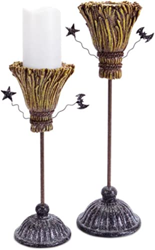 Set of 2 Glittery Witches Broomstick Halloween Pillar Candle Holder