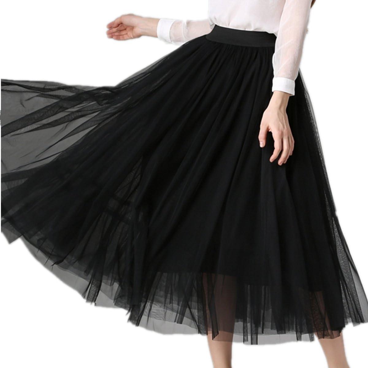 Summer Womens Pleated mesh Skirt Elastic Waist Holiday Evening Party Long Midi