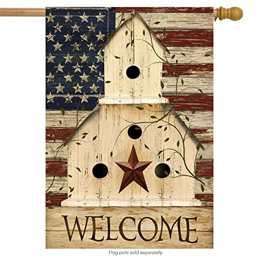 Americana Birdhouse Garden Flag - Briarwood Lane Americana Welcome House Flag Primitive Patriotic 28