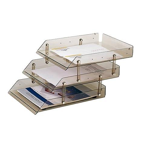 YUNCHENG Nivel 3 Oficina Escritorio Carta Documento Bandeja Organizador Rack,Estantes para Material De Oficina
