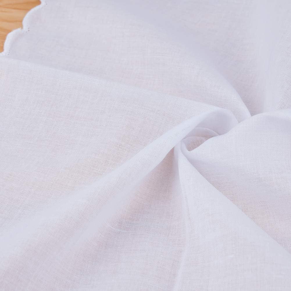 HOULIFE fazzoletti da donna 100/% cotone 60S morbido bianco puro fazzoletti per festa di nozze fai da te 6//12 pezzi 28 x 28 cm regali di Natale