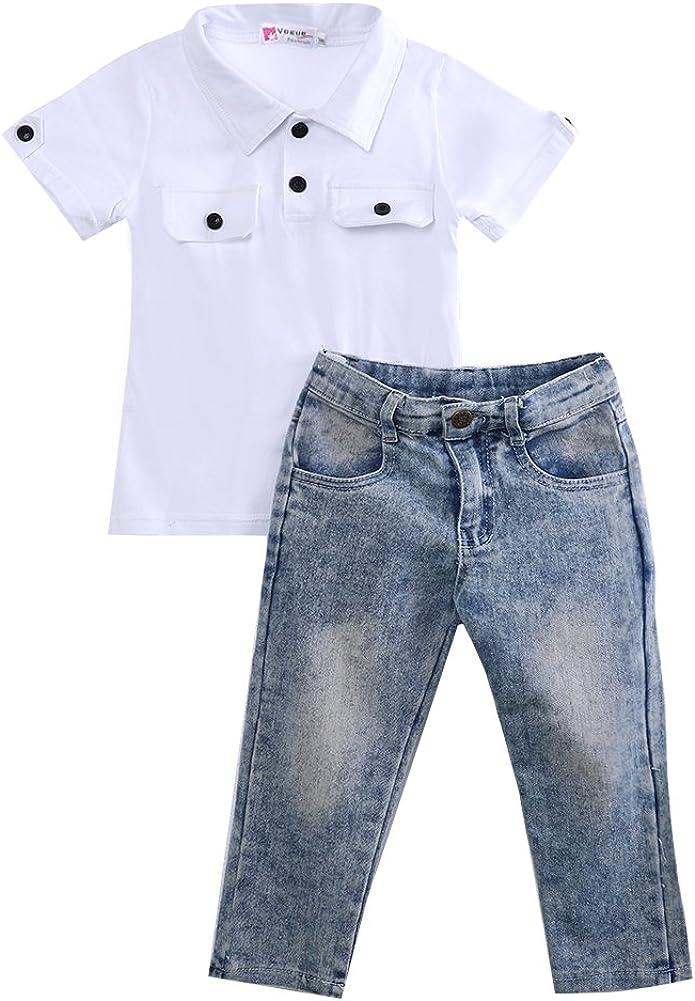 Pantalon en Jean D/élav/é 2 Pi/èces Ensemble de V/êtements Et/é Gar/çon Enfant T-Shirt /à Manches Courtes Col /à Revers