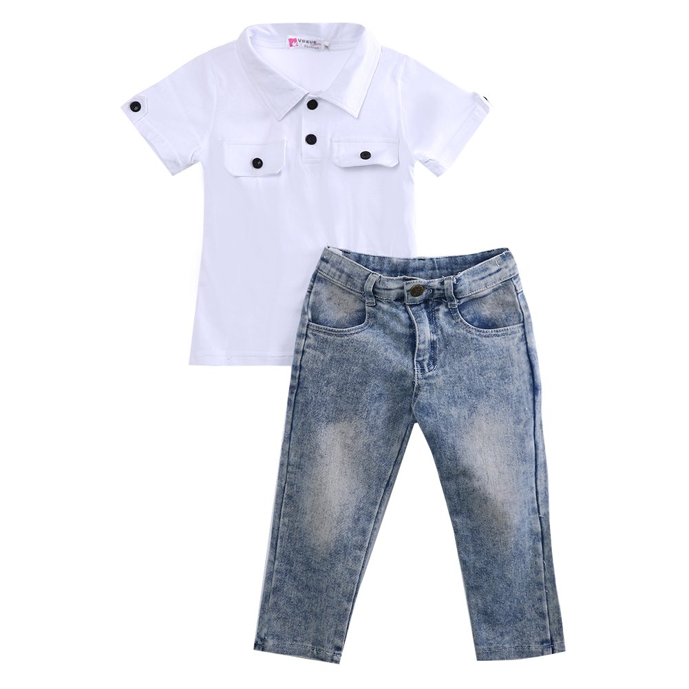 Mubineo Toddler Baby Little Boy T Shirts Outfit Funny Top Ripped Demin Jeans Clothes Set (White+Blue(1), 3-4T)