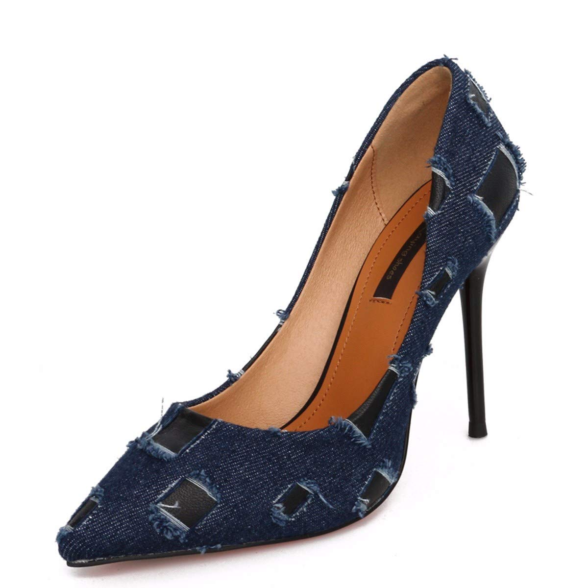 SFSYDDY-Summer Personality Holes Cloth Sexy Fine 10Cm High Heels Fashion Pointed Shallow Women's Shoes.Thirty-Seven Blue Color