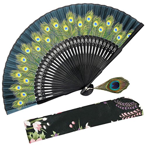 (OMyTea Hand Held Folding Fan for Women Peacock Chinese Japanese Oriental Asian Style - for Wedding, Dancing, Church, Party, Gifts (Green))