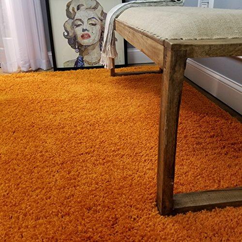 (Shag Area Rug 5x7   Plain Solid Orange Shag Rugs for Living Room Bedroom Nursery Kids College Dorm Carpet by European Made MH10 Maxy)