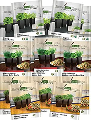 """14-PACK Bundled Herb Seeds, Spices, & Chiles by HOME CHEF HERBS. Build a GMO Free Culinary """"Themed"""" Garden - Italian, Asian, and Mexican. Cook Fresh, Life Healthy. Read More For Details."""