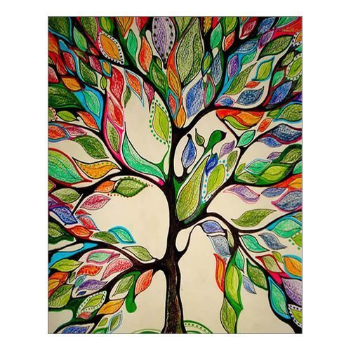 """HommomH"" 72"" x 80"" Shower Curtain Weights Resistant Waterproof Fabric Abstract Painting Colorful Tree of Life"