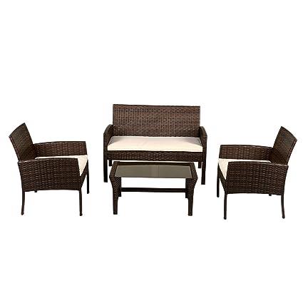 Amazon.com : MyEasyShopping 4 pcs Patio Garden Furniture ...