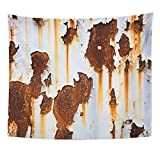 Emvency Tapestry Corroded White Metal Rusted Wall Rusty Streaks of Rust Home Decor Wall Hanging for Living Room Bedroom Dorm 50x60 inches