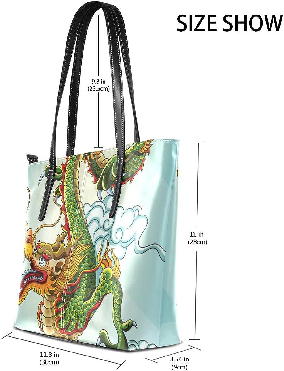 FANTAZIO Handbag Shoulder Chinese Dragon Pattern Shoulder Handbag