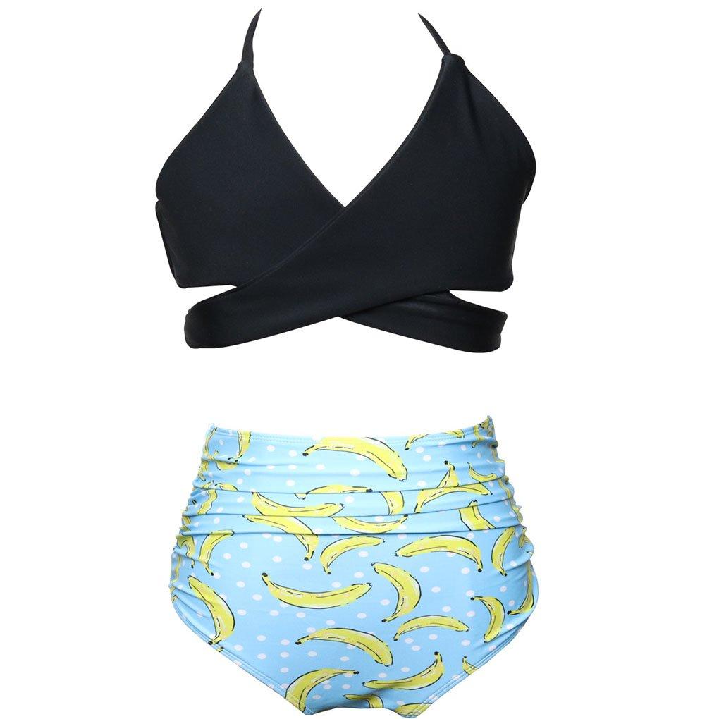 LemonGirl Baby Girls High Waisted Swimwear Floral Printed Bikini Set Swimsuits