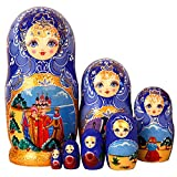 Moonmo 7pcs Beautiful Flower Handmade Wooden Russia Nesting Dolls Gift Russian Nesting Wishing Dolls Matryoshka Traditional