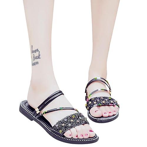 937b451dbcdc RAINED-SANDAL Fashion Women Sequins Flat Rhinestone Heel Anti Skidding  Beach Shoes Sandals (39