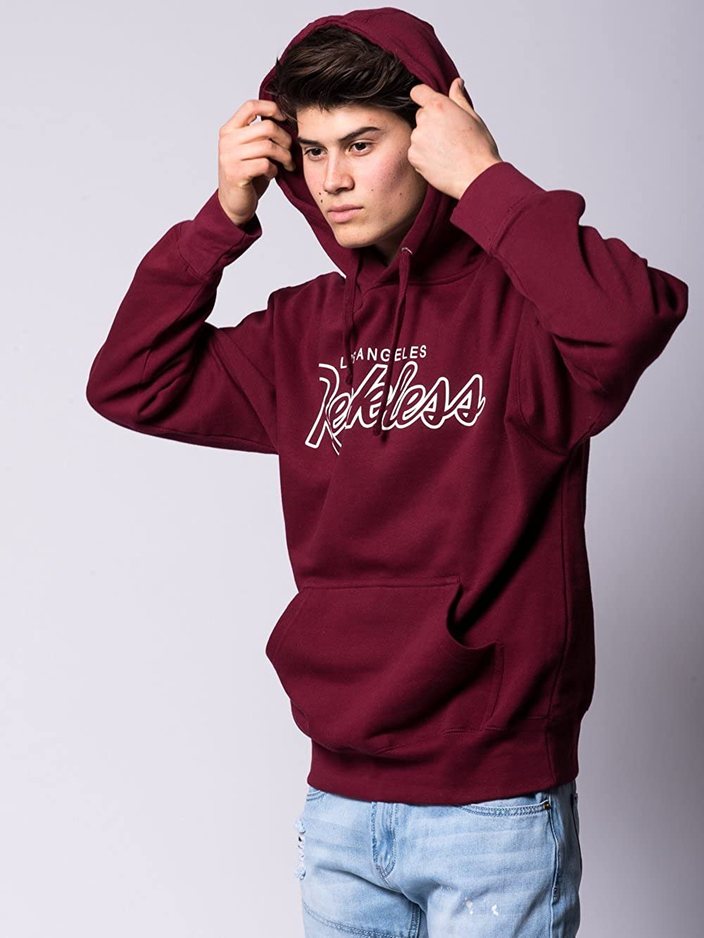 Amazon.com: Young and Reckless - OG Reckless Hoodie - Burgundy - - Mens - Tops - Hoodies -: Clothing