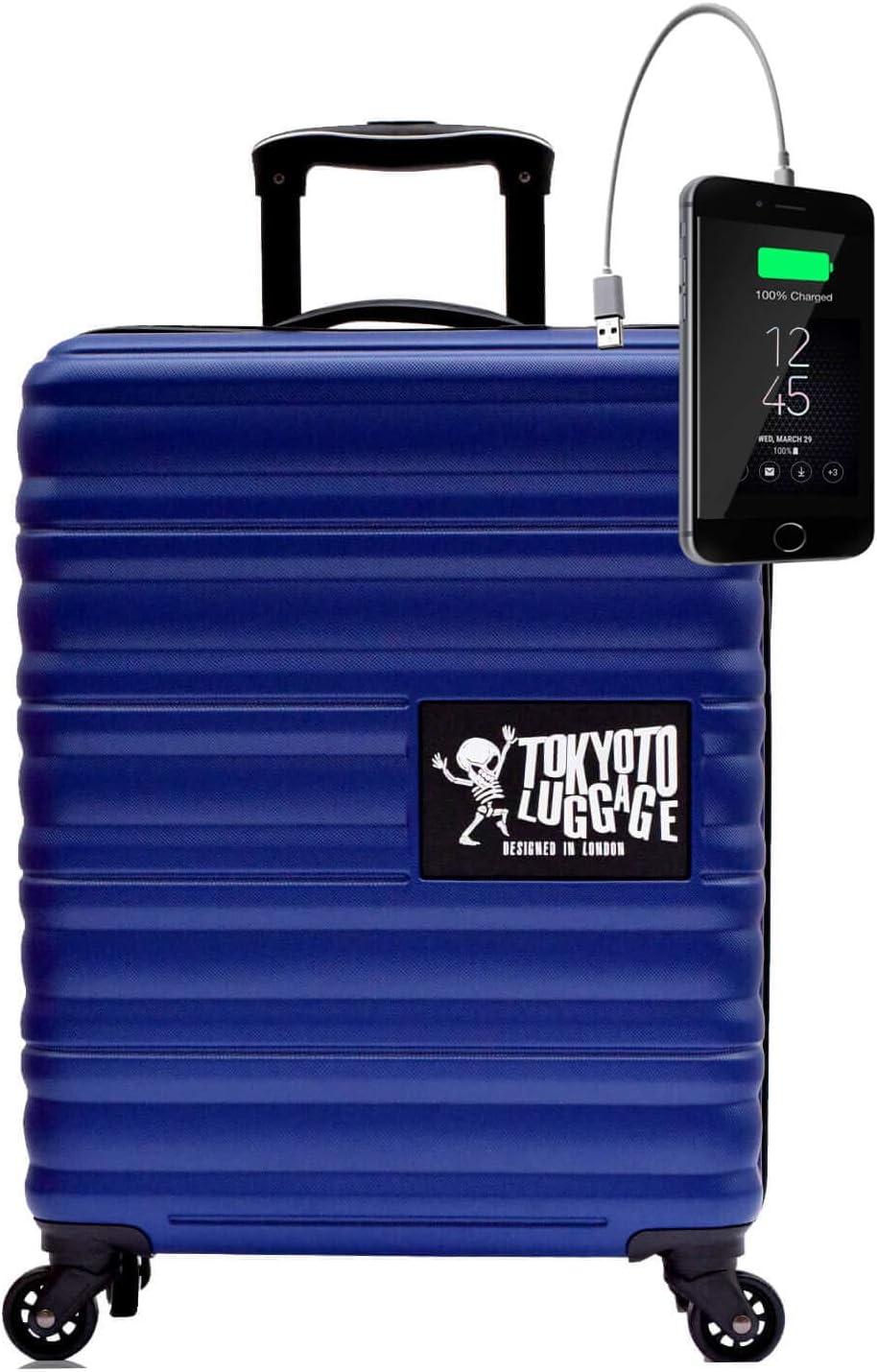 TOKYOTO - Maleta de Cabina Equipaje de Mano Juvenil Adulto Niños con Cargador USB, 8000mAh, 55x40x20 cm | Trolley de Viaje Ryanair, Easyjet | Maleta de Viaje Rígida Divertida Azul Marino