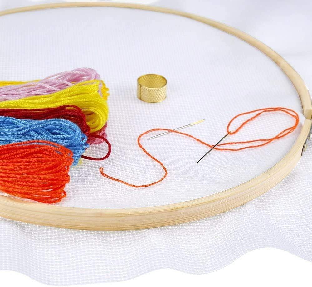 Cheeroyal Lot de 6 cerceaux /à broder ronds r/églables en bambou 17 cm