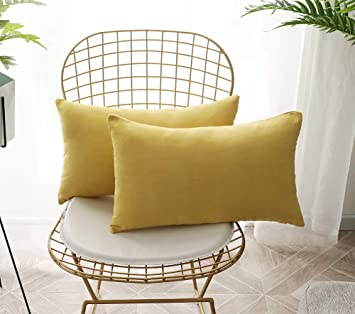 Miraculous Angji Outdoor Accent Pillows For Couch Bed Sofa Decorative Microfiber Lumbar Cushion Covers Set Of 2 12 X 20 Inches Yellow Caraccident5 Cool Chair Designs And Ideas Caraccident5Info