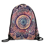 Amazing Floral Mandala Unisex Outdoor Rucksack Shoulder Bag Travel Drawstring Backpack Bag