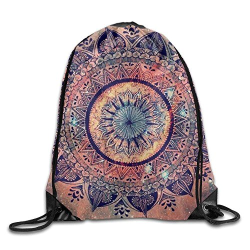 Amazing Floral Mandala Unisex Outdoor Rucksack Shoulder Bag Travel Drawstring Backpack Bag by crystars