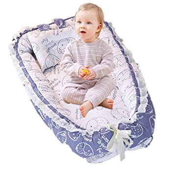 Abreeze Baby Bassinet for Bed Blue Green Baby Lounger,Baby Nest,Cotton Crib Breathable /& Hypoallergenic Co-Sleeping Baby Bed,100/% Cotton Portable Crib Pillow for Bedroom//Travel//Camping