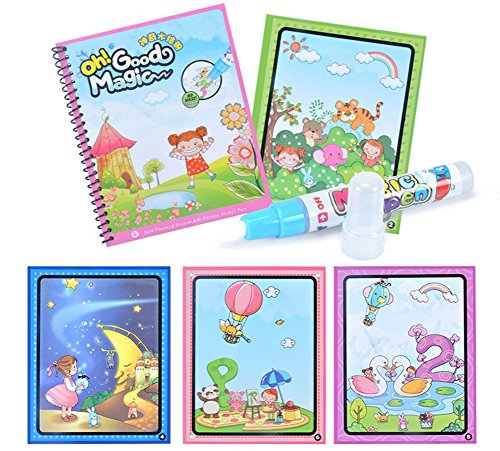 Fairydreamy Waterpainting Coloring Book Unisex Kids Magic Reusable Water Drawing Book with Water Pen Graffiti Painting for Toddlers (A Fairy Tale) ()