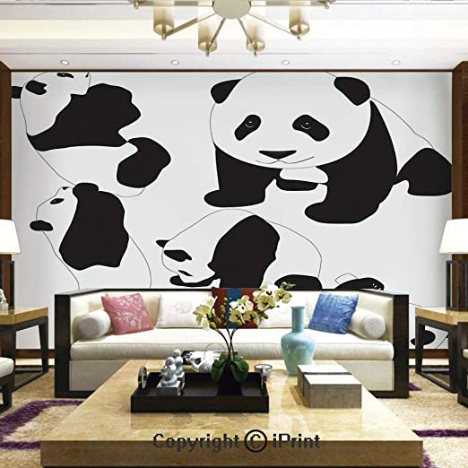 Amazon Com Wallpaper Nature Poster Art Photo Decor Wall Mural For Living Room Drawing Of Baby Pandas Milk Bottle Fly Cute Adorable Animal Figures Child Mammal Home Decor 100x144 Inches Home Kitchen
