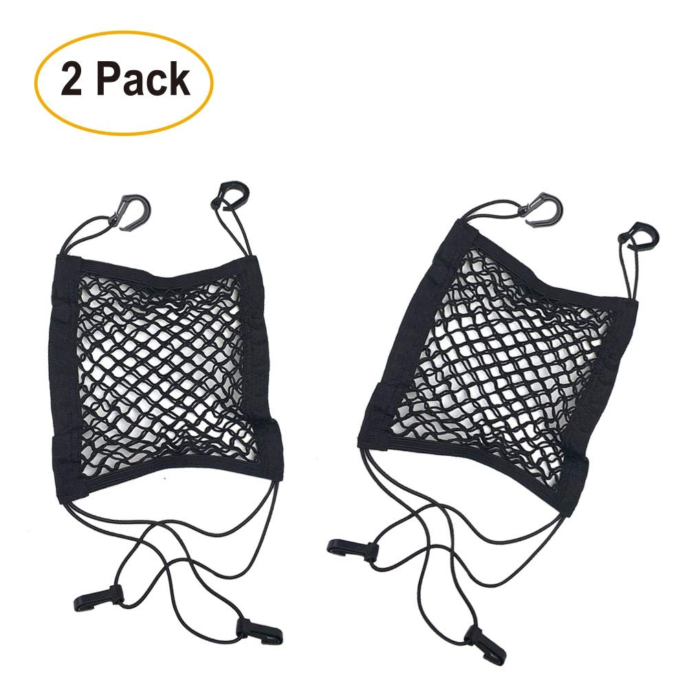 Pack of 2 Dog Barrier Car Seat Net   Universal Dual Layer Stretchable Mesh Organizer with Reinforced Hooks   Keep Your Children and Pets Safe and Prevent Distraction While You Drive   For Sedan, SUV