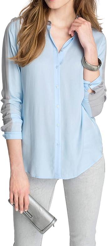 Esprit - Blusa de Manga Larga para Mujer, Talla 36, Color Azul Cielo: Amazon.es: Ropa y accesorios