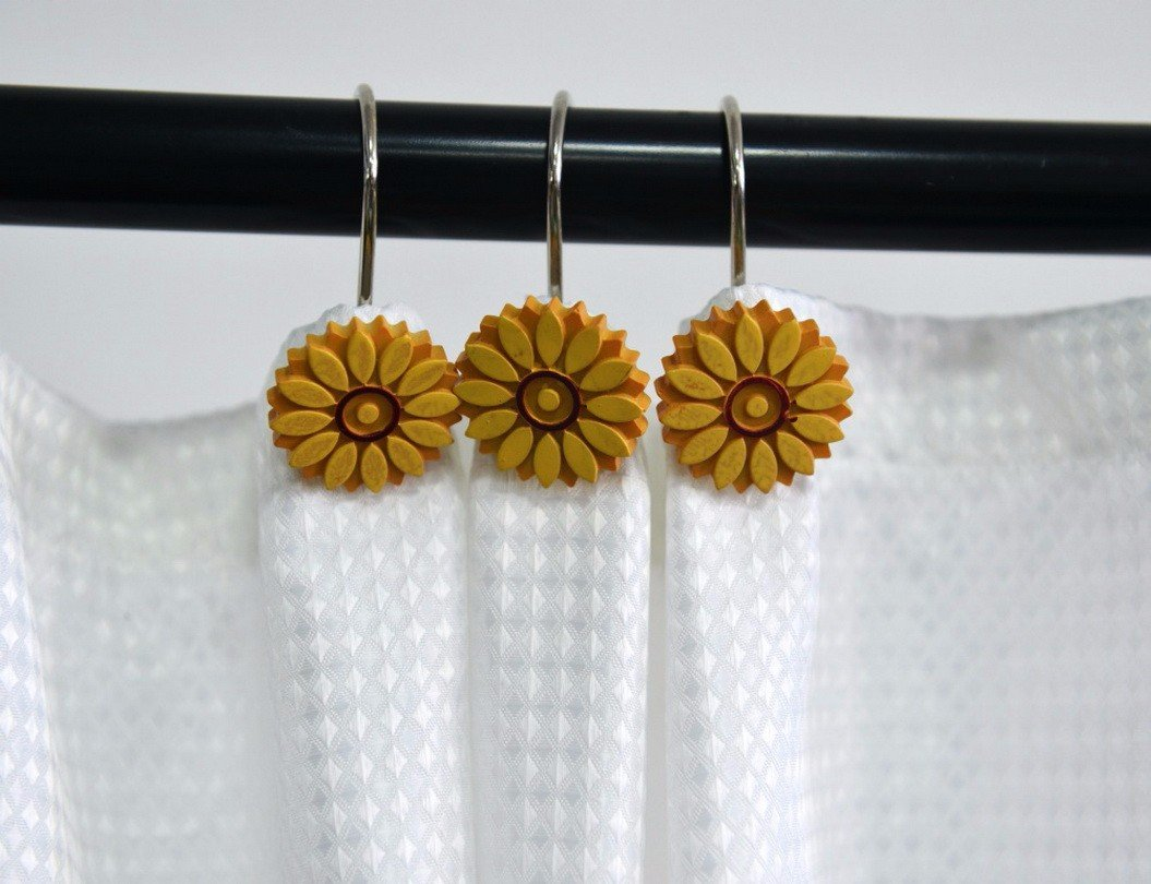 A.Monamour Decorative Shower Curtain Hooks Rustproof Smooth Gliding Shower Curtain Roller Rings For Bathroom Curtain Rods - Set of 12- Resin Yellow Sunflowers Art Decors Hooks by A.Monamour
