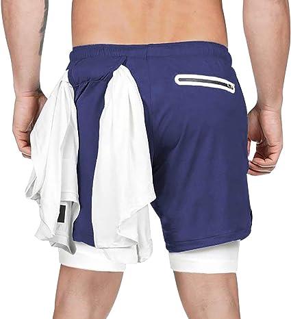 Pantalones Cortos Deporte Hombre Pantalon Corto Running Hombre Deportes con Bolsillos Shorts Cortos Hombre Short Pantalón Corto Correr 2 en 1 Secado ...