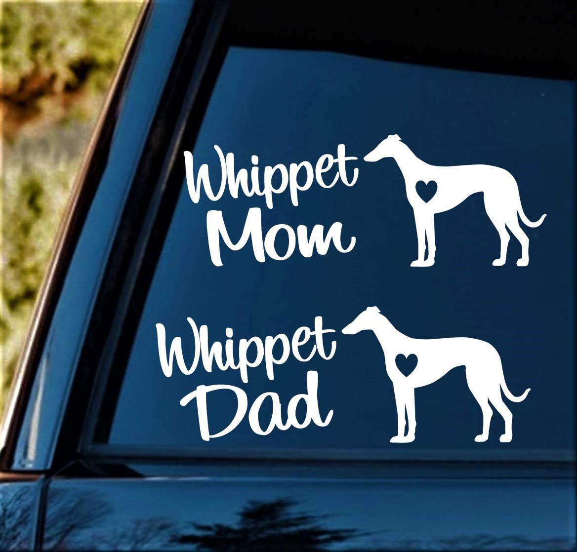 Whippet Mom and Whippet Dad Dog Decal Sticker for Car Window 8.0 Inch BG 244