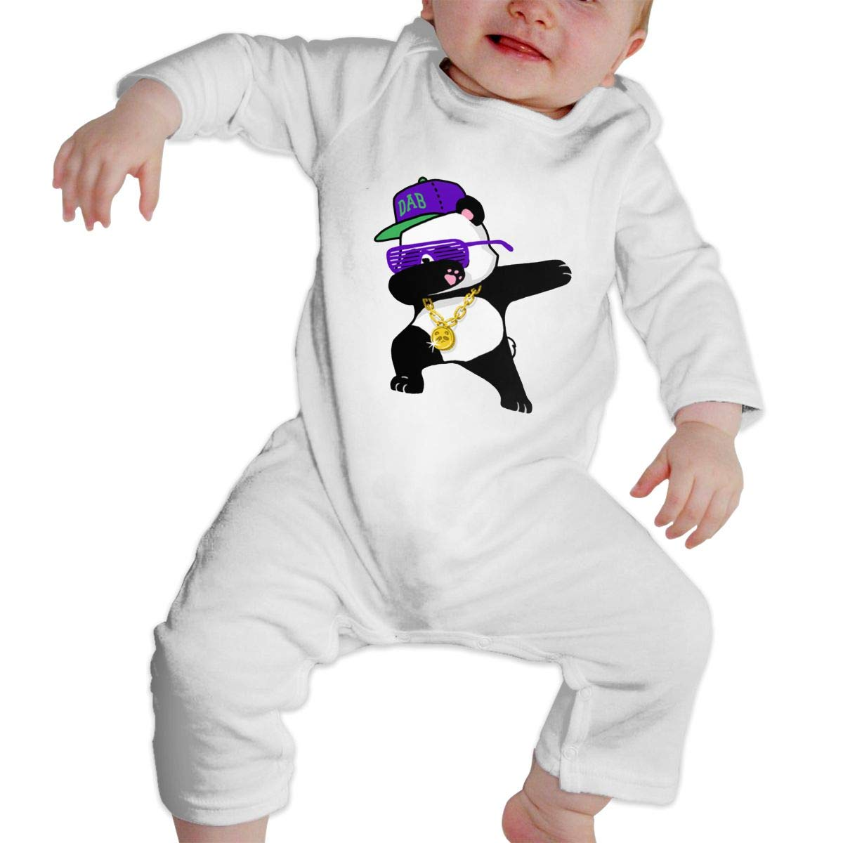 KAYERDELLE Dabbing Panda Long Sleeve Unisex Baby Playsuit for 6-24 Months Infant