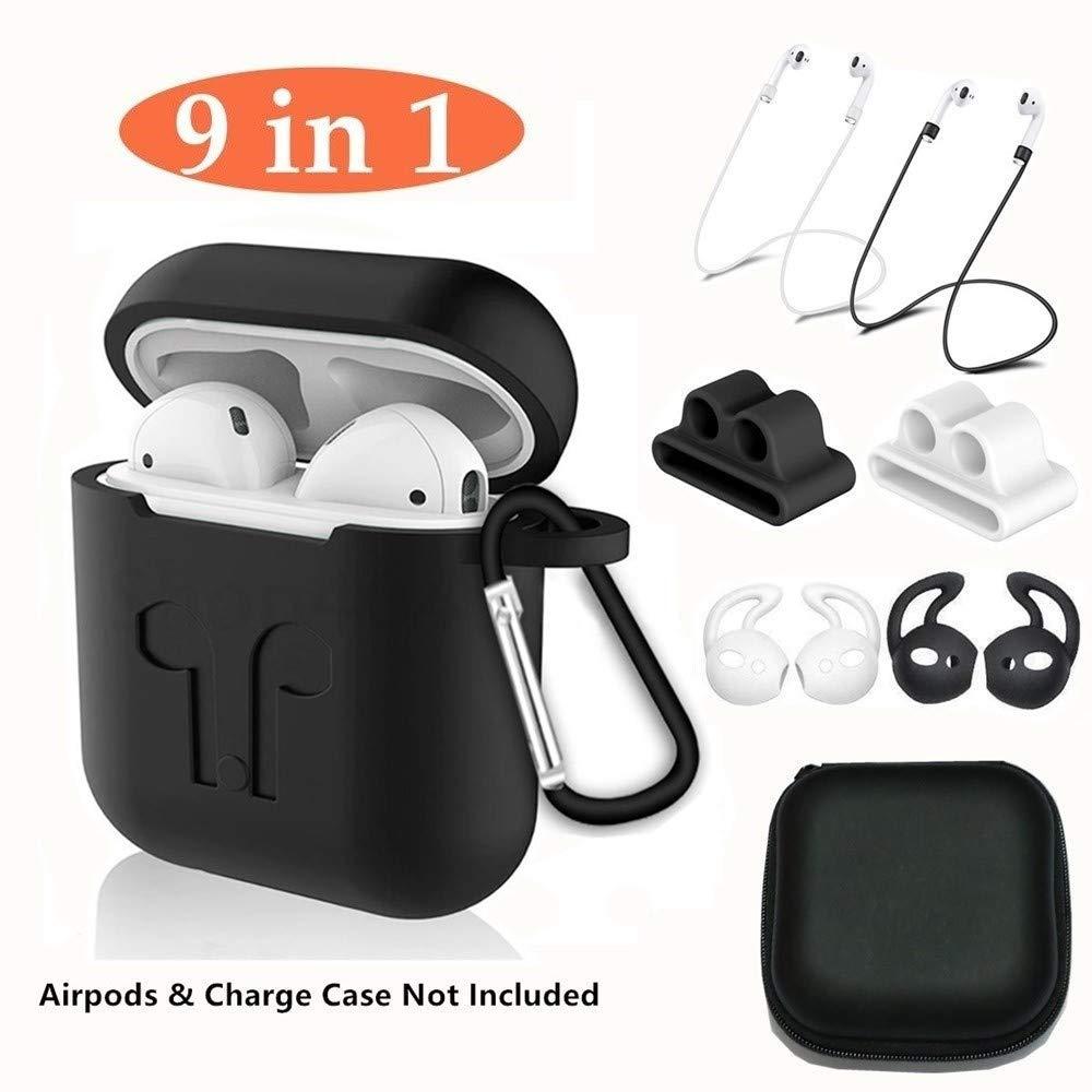 Aheadife AirPodsケース 9イン1 Airpodsアクセサリーイヤホンヘッドフォンセット シリコン保護カバー Apple Airpods充電ケースとイヤーフック、キーチェーン、Airpodsストラップと時計バンドホルダーに対応   B07H68RZP5