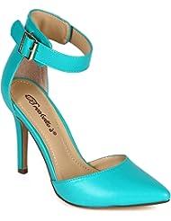Breckelles CB80 Women Leatherette Pointy Toe Single Sole Ankle Strap d'Orsay Stiletto Pump - Aqua